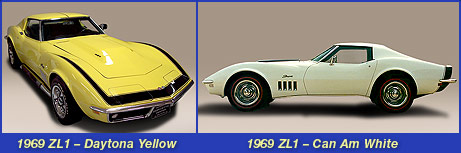 1969 ZL1 Daytona Yellow Corvette and Can Am White Corvette